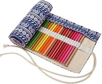 Abaría - Bolso de lapices Bolsa de Almacenamiento Hecho de Mano Estuche Enrollable lápices de Lona, Elefante Azul 72 Agujeros: Amazon.es: Electrónica
