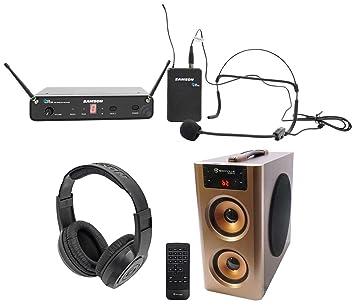 Samson Concierto 88 inalámbrico UHF Sistema de micrófono auricular HS5 + auriculares + Altavoz: Amazon.es: Instrumentos musicales