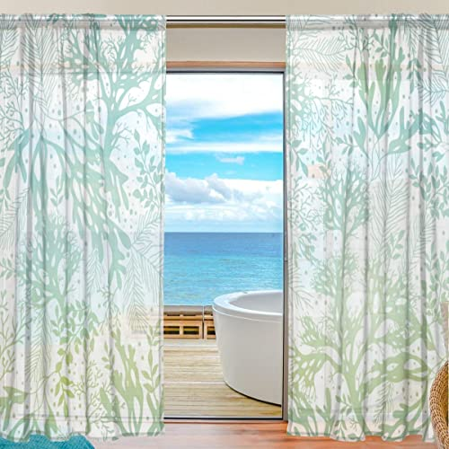 ALAZA U Life Ocean Sea Aquatic Plants Patchwork Rod Pocket Sheer Voile Window Curtain Curtains 55 inch Wide x 84 inch Long Per Panel