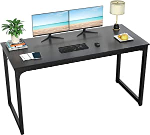 "Foxemart Computer Desk 55"" Modern Sturdy Office Desk PC Laptop Notebook Study Writing Table for Home Office Workstations, Black"