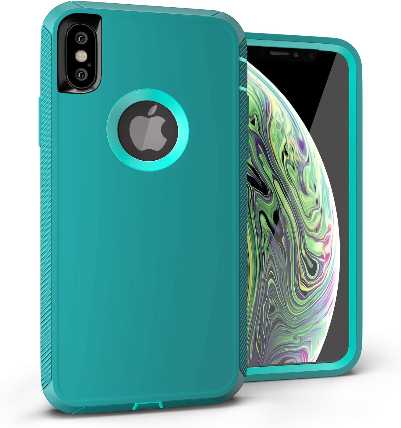 iPhone Xs Case, Viero Defender iPhone X Case Heavy Duty Rugged Impact Resistant Full Protective Armor Military Protection Belt Clip Holster Kickstand Protector Case Cover for iPhone 10- Teal/Teal