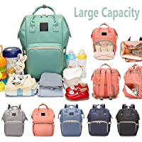Reliancer Large Capacity Diaper Bag for Baby Care Multi-Function Waterproof Travel Nappy Bags Backpack Fashion Mummy Nursing Bag w/Insulated Pockets 6 Colors