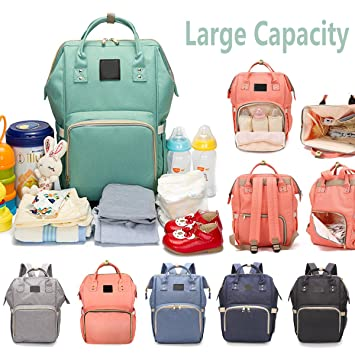 92295e9656 Amazon.com   Reliancer Large Capacity Diaper Bag for Baby Care Multi- Function Waterproof Travel Nappy Bags Backpack Fashion Mummy Nursing Bag  w Insulated ...