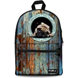 FOR U DESIGNS Cute Gray Dog Daypack Animal College Girls Back Pack Canvas Bookbags