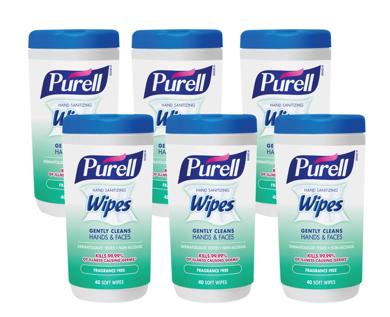 Purell 9121-06-CMR Hand Sanitizing Wipes, Fragrance Free, 40 Count Canister (Pack of 6) (Packaging may vary)