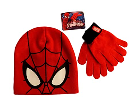 Marvel Ultimate Spider Man Beanie Hat And Gloves Set Red