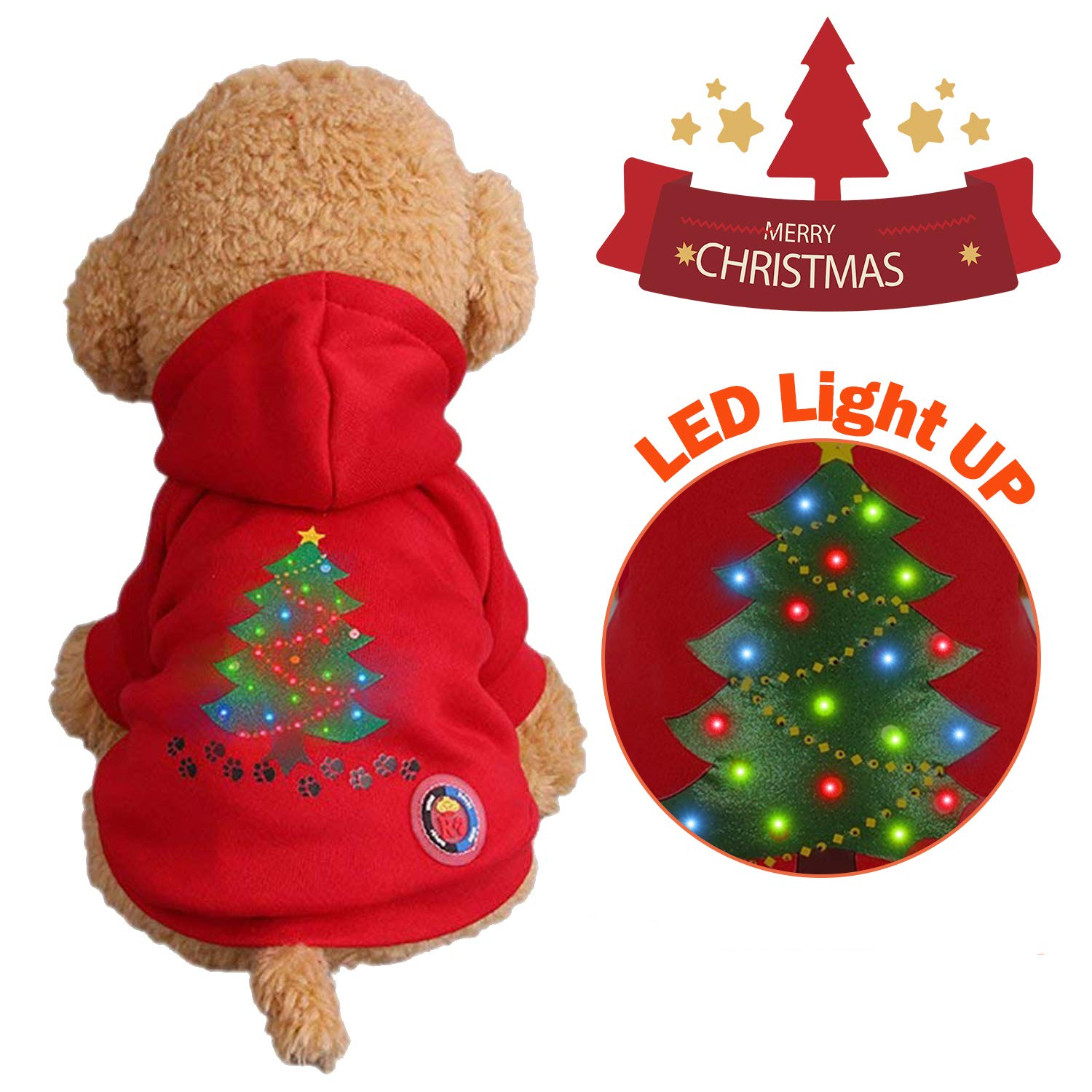 Red Christmas Dog Paw Print Large Red Christmas Dog Paw Print Large Garlagy Christmas LED Light up Pet Dog Cats Sweater Hoodies Sweater Xmas Tree Santa LED Clothes Medium Large Animal Puppy Kitten Outfit Vest Shirt Coat Holiday Festival Party