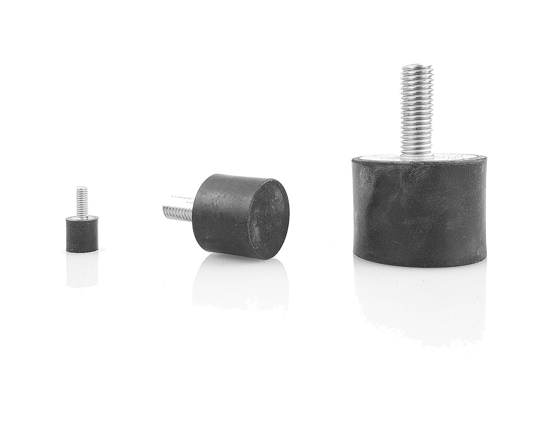 10 x Gummipuffer Typ D /Ø10mm 5mm hoch M4 WTB/® Gummimetallpuffer mit einseitigem Aussengewinde Metallteile Stahl verzinkt Naturkautschuk H/ärte 55/°Shore