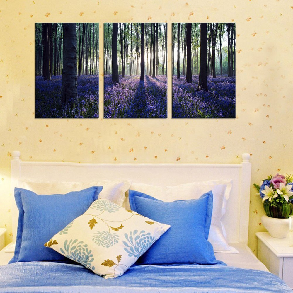 Amazon.com: Canvas Wall Art Purple Lavender in Woods Sunshine ...