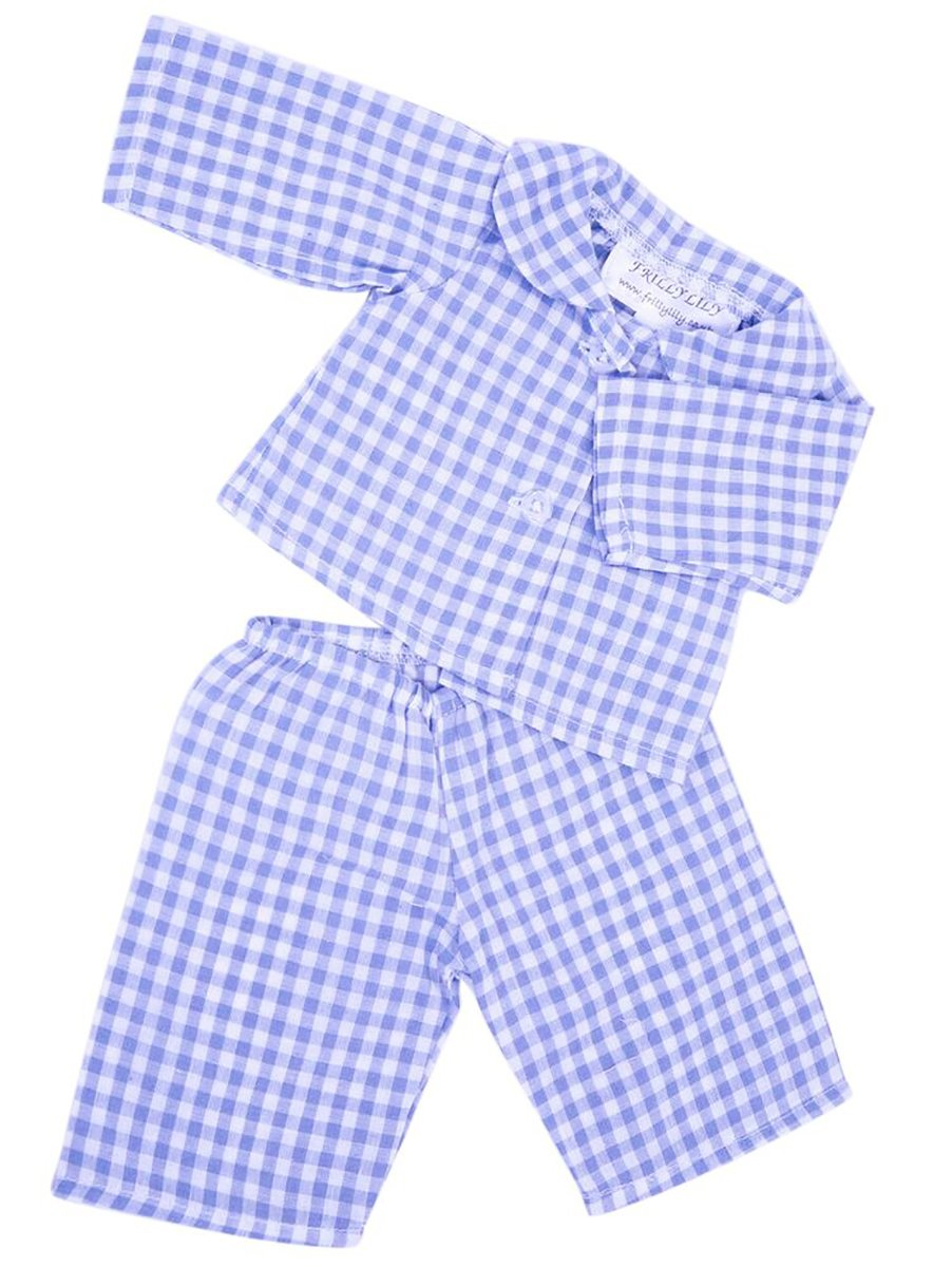 Frilly Lily PALE BLUE CHECKED DOLLS PYJAMAS MED SIZE 18-20 INS 45-50 cm DOLLS AND BEARS, To fit dolls such as 46 cm Baby Annabell med blue pjs