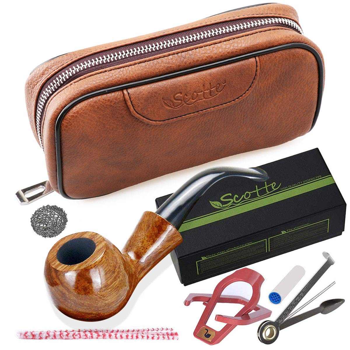 Scotte Tobacco Smoking Pipe, Leather Tobacco Pipe Pouch Pear Wood Pipe Accessories(Scraper/Stand/Filter Element/Filter Ball/Small Bag/Box) Scotte-08