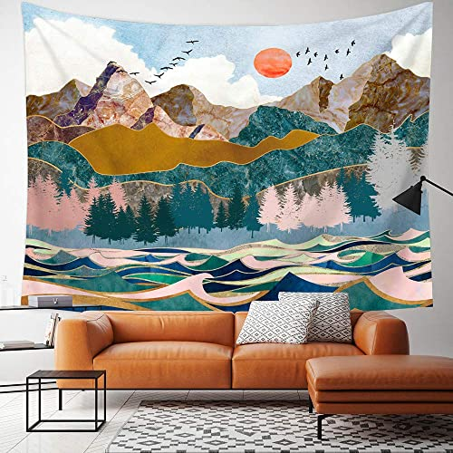 Kingla Home Mountain Tapestry Wall Hanging Nature Landscape Scenery Sun Forest Large Tapestry for Room 70.9 x 92.5 Inches