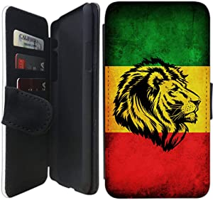 Flip Wallet Case Compatible with iPhone XR (Rasta Rastafarian Lion) with Adjustable Stand and 3 Card Holders | Shock Protection | Lightweight | Includes Free Stylus Pen by Innosub