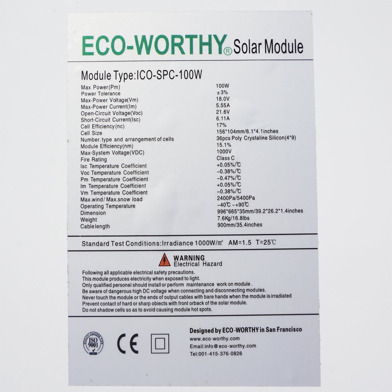 Eco Worthy 100w 12 Volt Solar Panel Polycrystalline 100 Watt Pics Photos Circuit Training Workout 11 28 11a Module For Battery Charging Business Industry Science