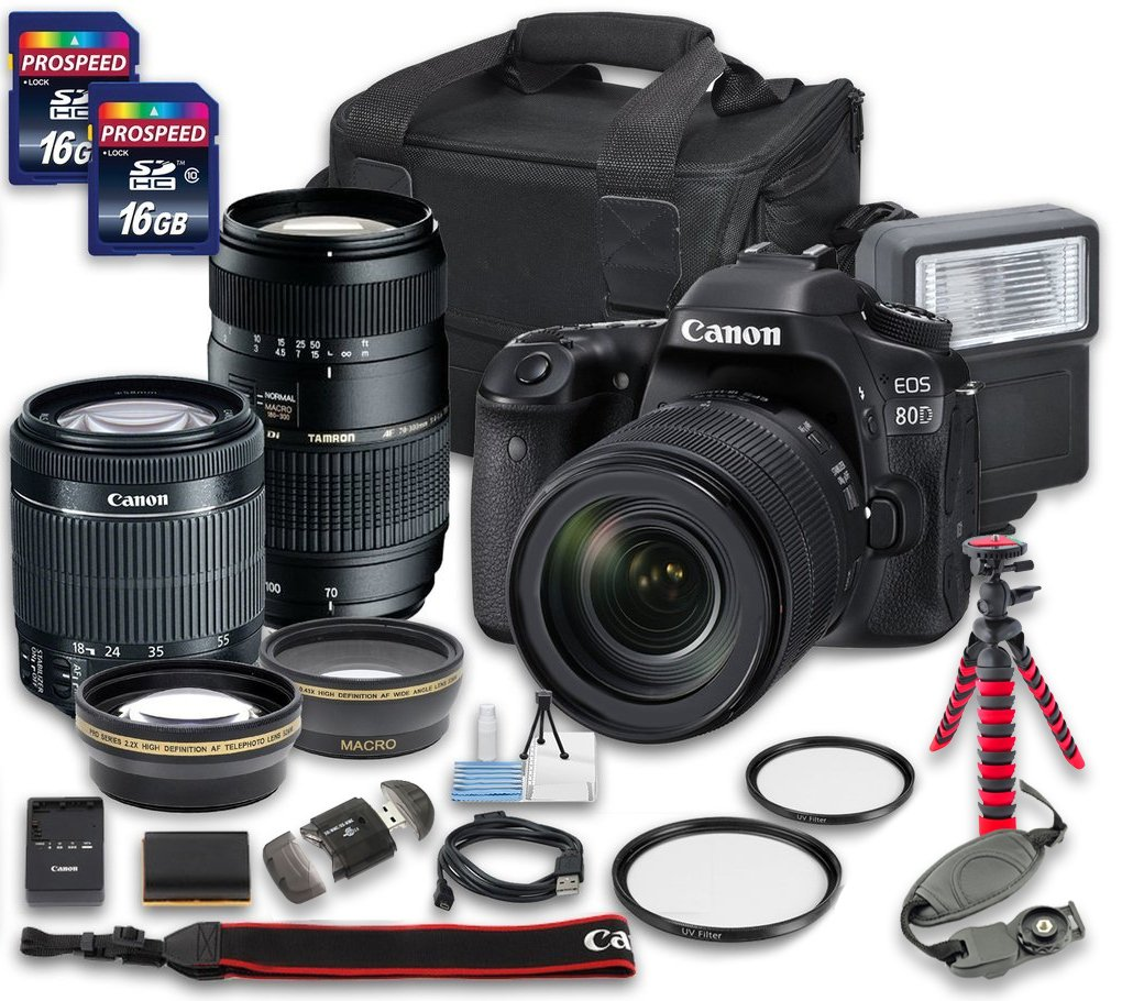 Canon EOS 80D DSLR Camera Bundle with Canon EF-S 18-55mm f/3.5-5.6 IS STM Lens + Tamron Zoom Telephoto AF 70-300mm f/4-5.6 Macro Autofocus Lens + 2 PC 16 GB Memory Card + Camera Case by Canon