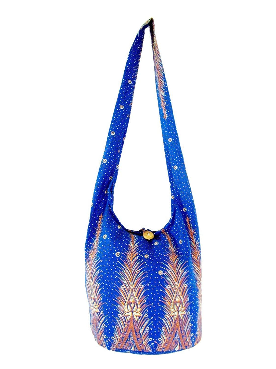 Fully Lined Thai Cotton Bohemian Sling Bag Medium Cotton Hippie Hobo Crossbody Bags for Women Peacock Feather Print