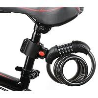AKM Câble antivol à code,Antivol pour bicyclette vélo motos Scooters portails, support de fixation,900mm/1200mm,gris/noir