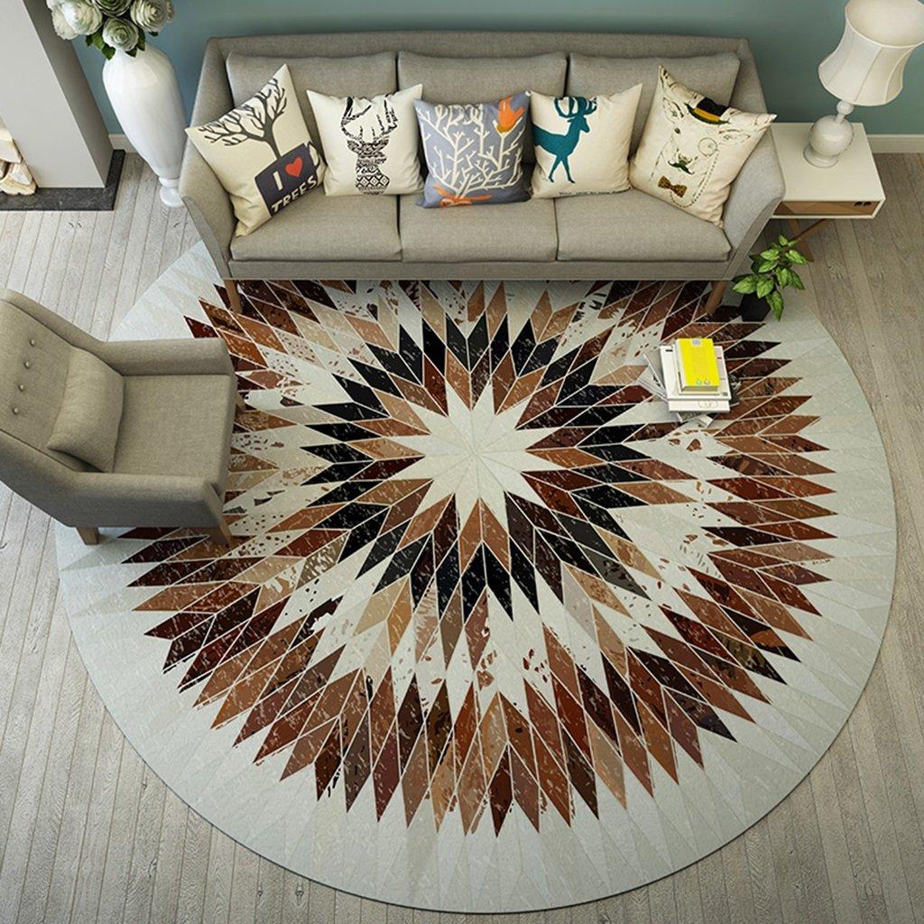 QINGTAOSHOP Runder Teppich Multifunktionstuch   Couchtisch Computer Stuhl Teppich Braun Geometrisch (Größe   200CM)