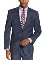 Sean John Mens Striped Notch Lapel Two-Button Suit Jacket