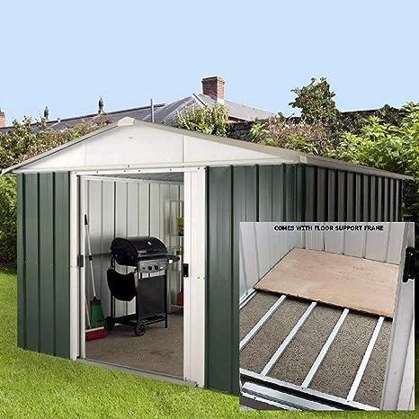 Yardmaster Apex Metal caseta de jardín, 10 x 13 marco de acero con soporte de