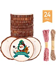 """Natural Wood Slices SOLEDI 30 PCS"""" Unfinished Predrilled with Hole Wooden Circles, with 33 ft Natural Jute Twine and 72ft Red Ribbon,Christmas Ornaments and Home Decorations,DIY Crafts"""