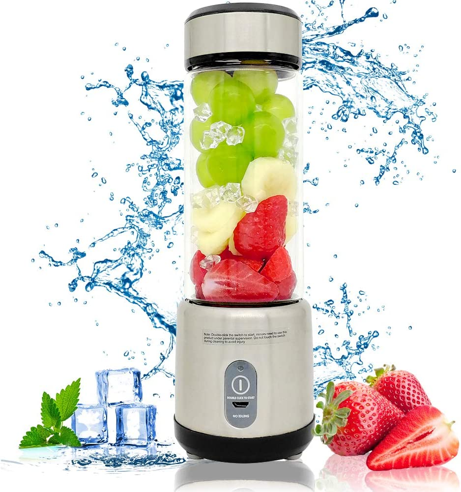 Portable Juicer Blender for Shakes and Smoothies, includes 126 Watts 5100mAh Battery, Personal USB Blender Bottle Travel Cup, 7.4V 15oz,Black