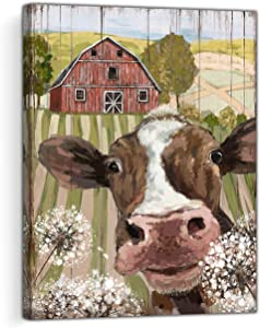 Country Barn Decor Cow Wall Art Canvas Print Picture Farmhouse Bathroom Wall Artwork Rustic Style Funny Cow and Dandelion for Bedroom Office Restaurant Kitchen(cow 2, s) …