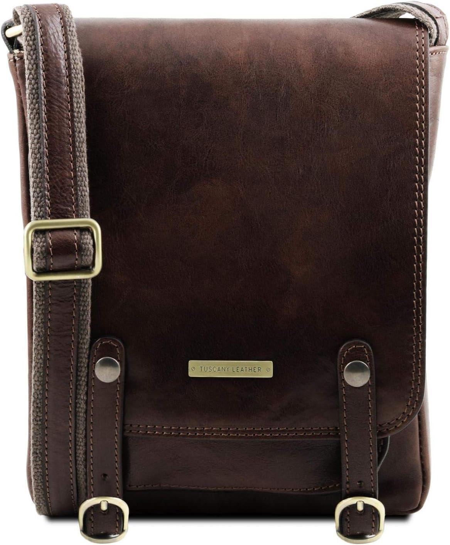 Tuscany Leather Roby Bolso para Hombre en Piel con Bandolera y Hebillas Marrón Oscuro