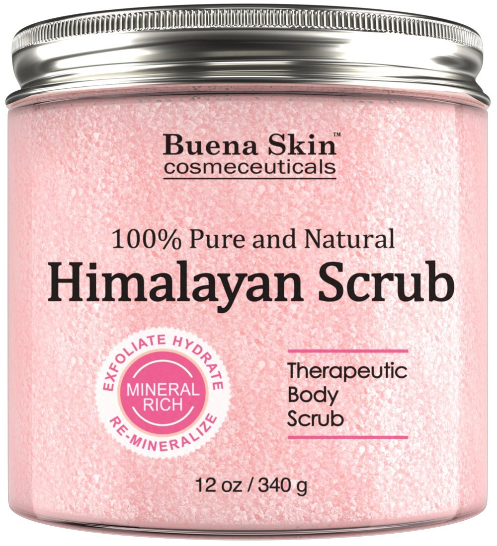 Himalayan Salt Body Scrub With Lychee Fruit Oil | All Natural Cleansing Exfoliator With Sweet Almond Oil Promoting Radiant Skin 12 oz By Buena Skin (Himalayan) by Buena Skin (Image #1)