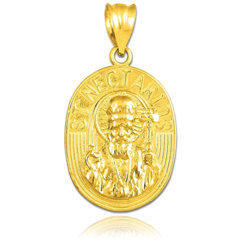 Fine 14k Yellow Gold Saint Nectarios of Aegina Medal Protection Charm Pendant