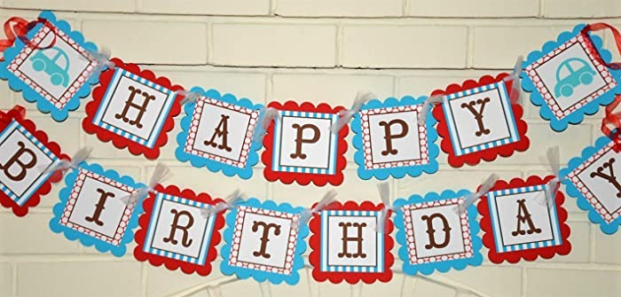 Amazon Com Red And Turquoise Blue Happy Birthday Vintager Car