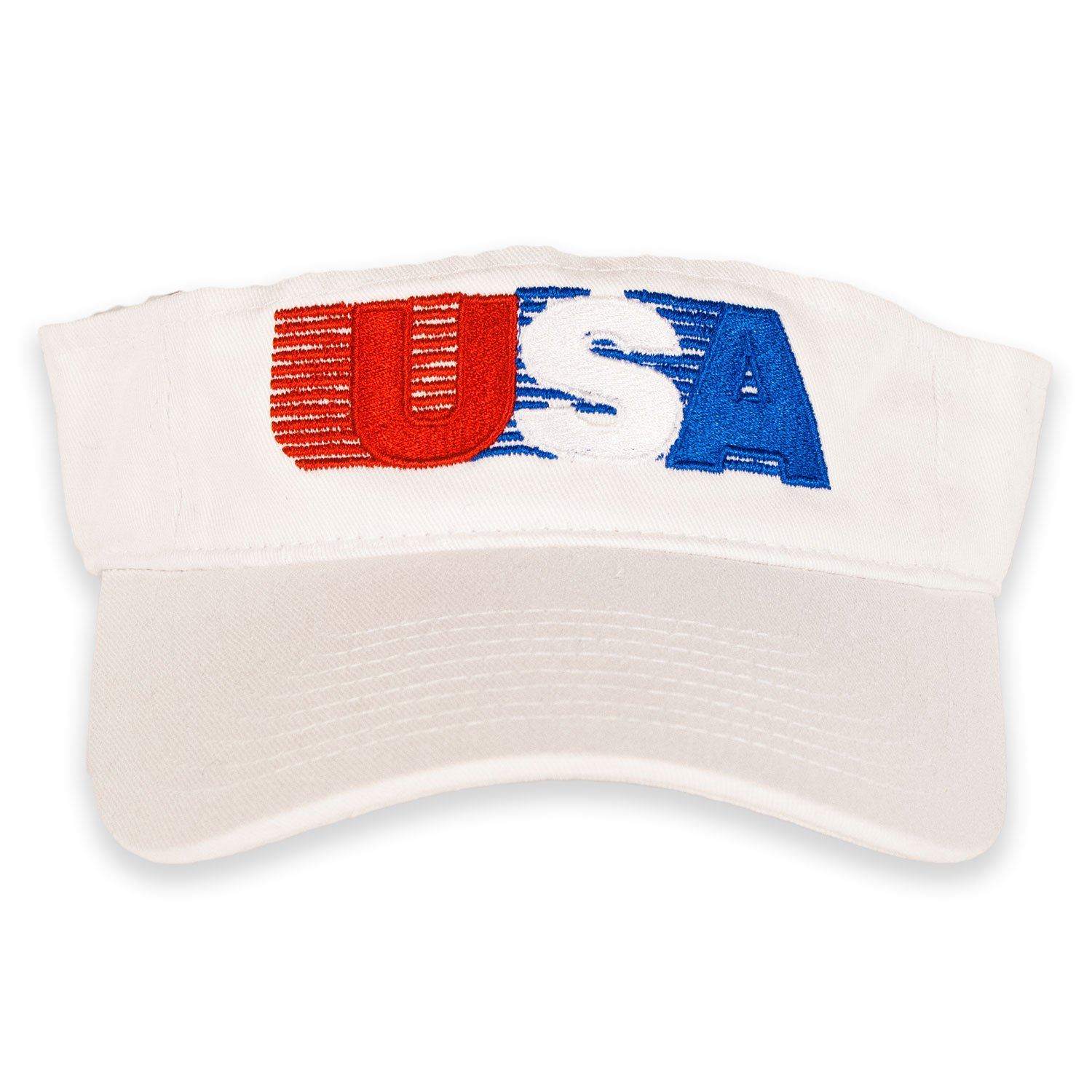 7de9b0483e24 USA Patriotic American Retro Visor (White) at Amazon Men s Clothing store