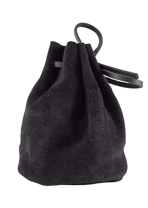 31384332b8 Borsa a cestello in pelle, grande, colore: nero, modello vichingo/medievale