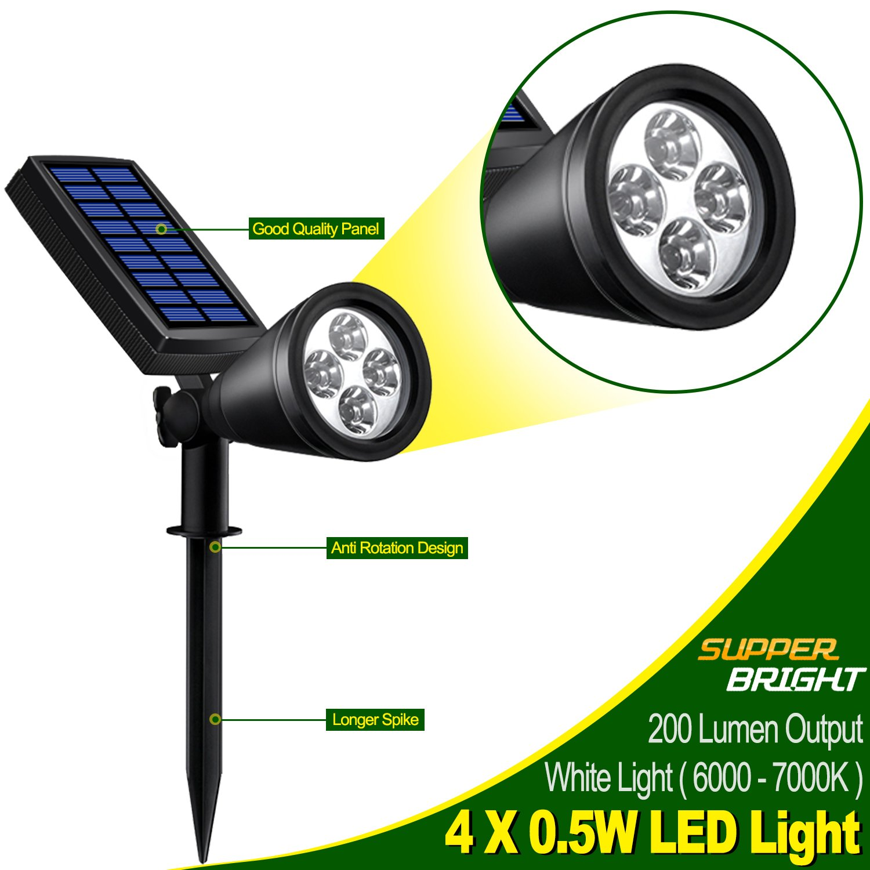 Solar Lights Outdoor, Lovin Product 2-in-1 Adjustable Solar Spotlight with 4 LED; Pir Sensor/ Auto On/Off sensor/ 2 Modes/ IP64 Waterproof/ Super Bright Wall / Landscape Lights (4 Pack) by LOVIN PRODUCT (Image #2)