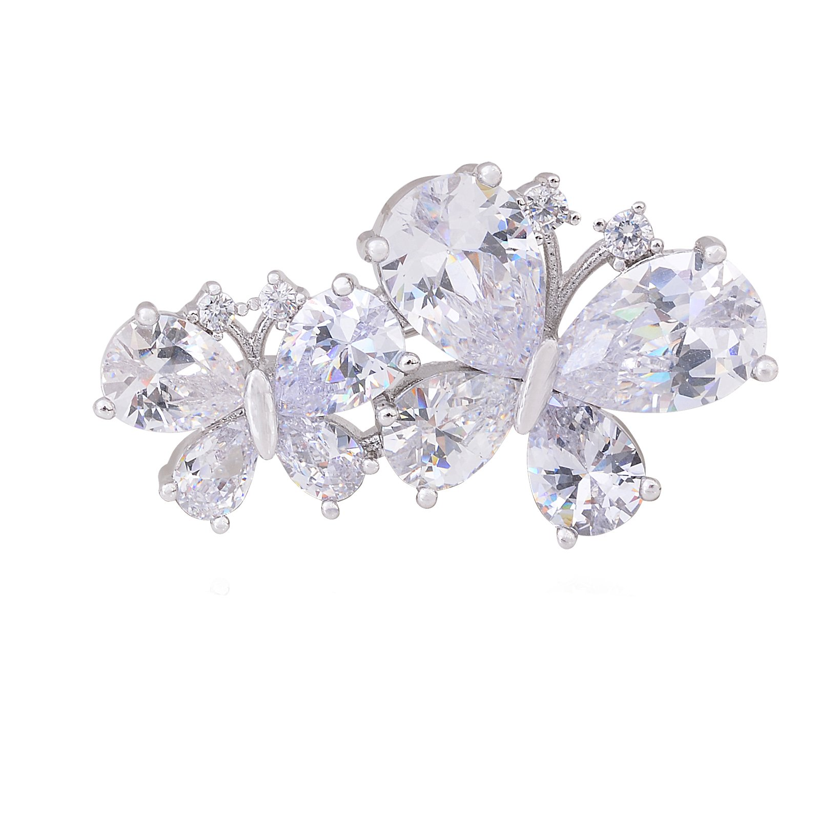 OBONNIE Shinning Crystal Butterfly Flower Women Brooch Pin Lapel Pin with Full Cubic Zirconia Party Gift (Double Butterfly)