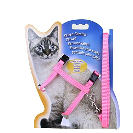 Adjustable Durable Pet Rabbit Cat Kitten Leashes Belt Harness Collar Animal Walking Lead(Pink)