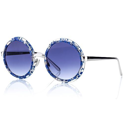 5bdbcb8ec57 Retro Vintage Round Acetate Silver Metal Frame Blue Gradient Lens Sunglasses