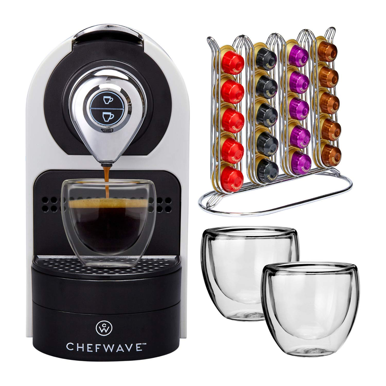 ChefWave Mini Espresso Machine - Nespresso Capsules Compatible - Programmable One-Touch 27 Oz. Water Tank, Premium Italian 20 Bar High Pressure Pump - 40 Pod Holder, 2 Double-Wall Glass Cups - White by ChefWave (Image #2)