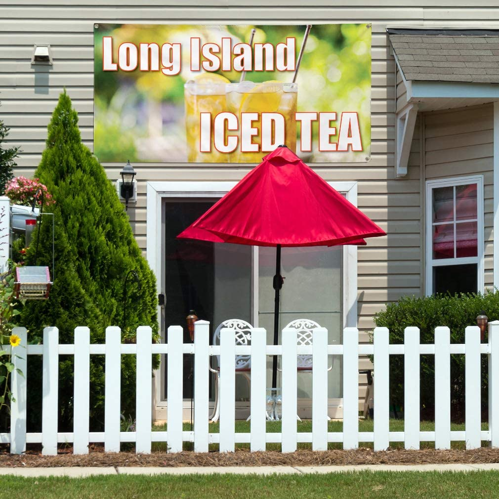 Set of 2 Multiple Sizes Available 6 Grommets 32inx80in Vinyl Banner Sign Long Island Iced Tea #1 Style A Outdoor Marketing Advertising Yellow