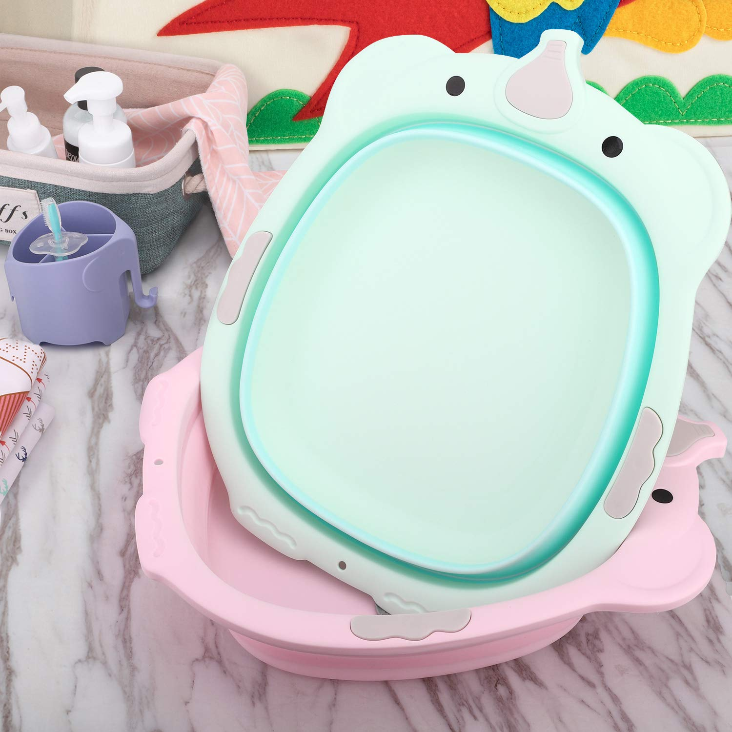 Pink Zooawa Collapsible Dish Tub BPA Free Elephant Foldable Camp Wash Basin Plastic Portable Washing Basin for Home Travel Outdoor Use