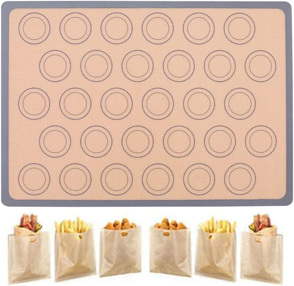 Macaron Silicone Baking Mats, 6 Toaster Bags, Reusable BPA Free Non Stick Oven Liners for Food Safe Baking Mat Set