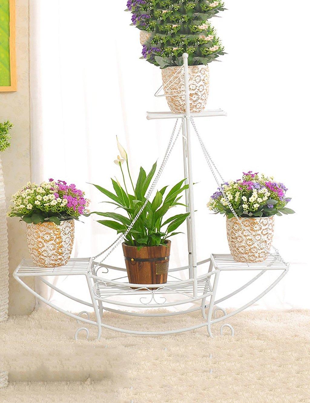 Continental Kreative Eisen  vier Blume einfach Mehrschichtige Leiter Blume Boden Balkon Blumentopf Regal Einfache moderne Wohnzimmer Innenraum Blume ( farbe : B )