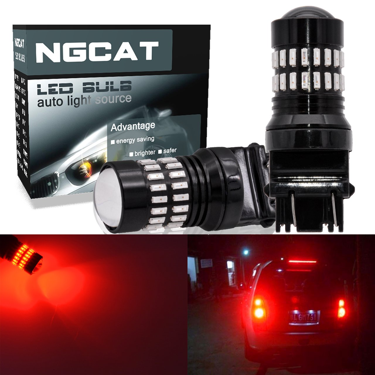 NGCAT 1200LM Xenon White 3157 LED Bulbs Extremely Bright 48-SMD 4014 LED Chipsets T25 3156 3057 4057 4157 LED Bulbs with Projector for Turn Signal Lights Tail Backup Reverse Lights(Pack of 2)