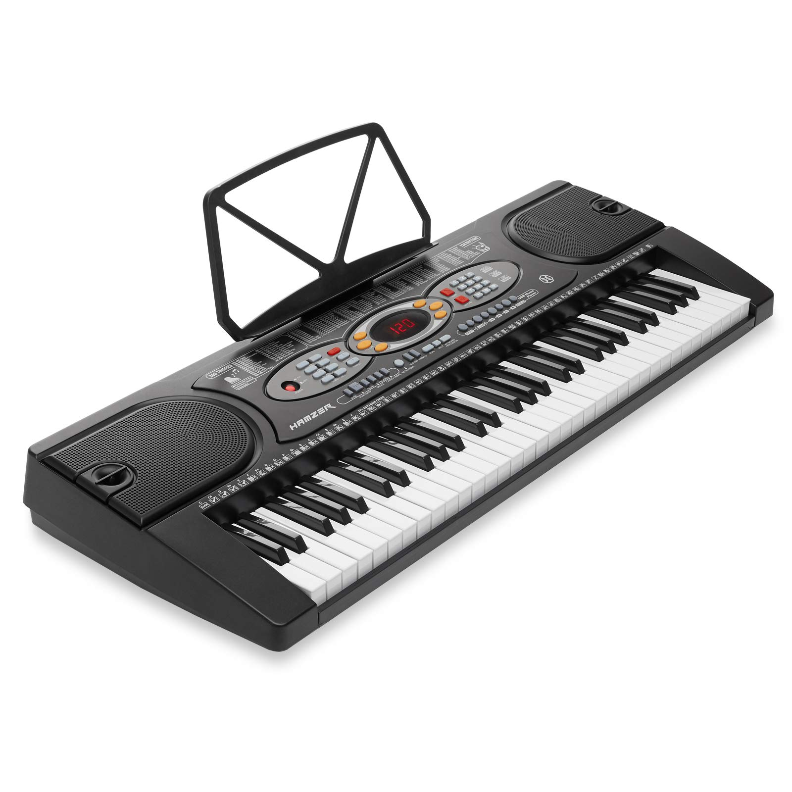 Hamzer 61-Key Electronic Keyboard Portable Digital Music Piano with H Stand, Stool, Headphones Microphone, Sticker Set by Hamzer (Image #3)
