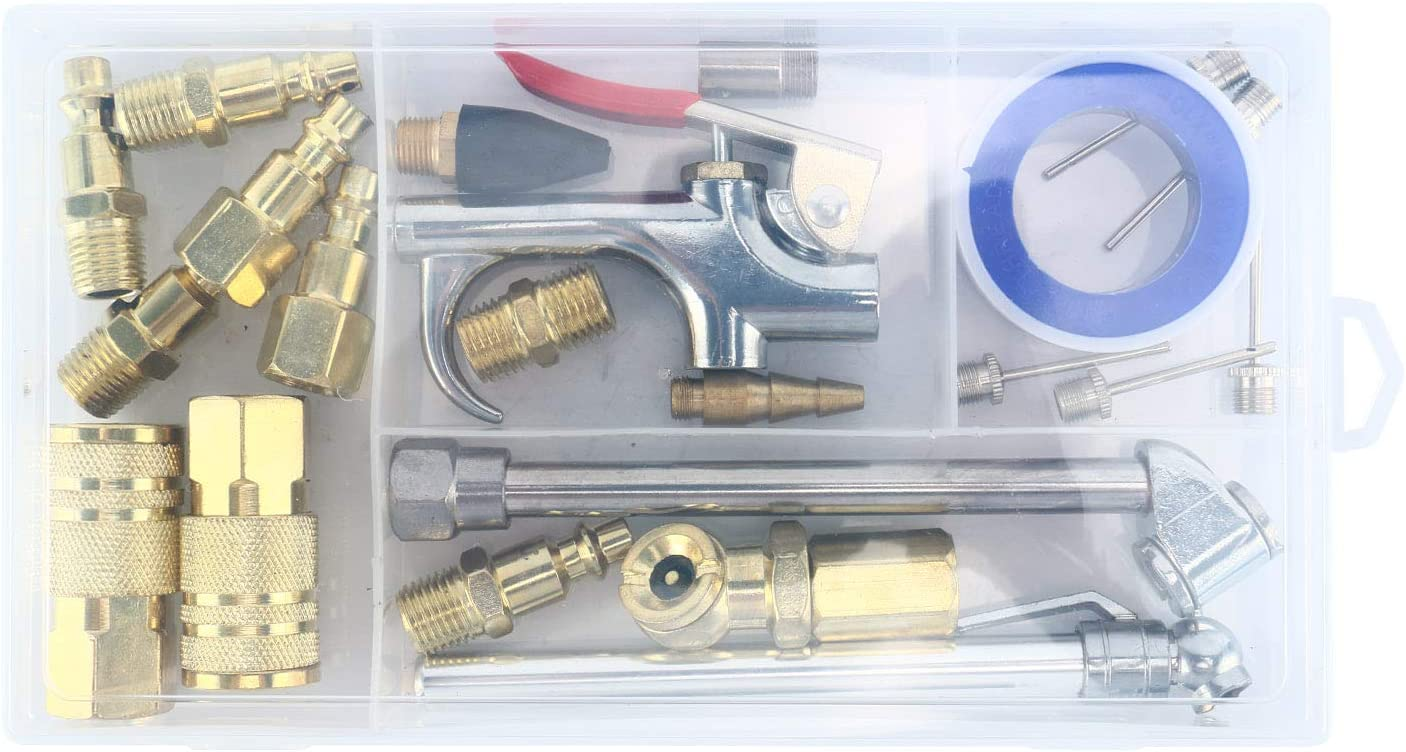 8MILELAKE 22PC Air Hose Fittings Air Compressor Accessories Kit with 1//4inches NPT Quick Connect Fittings and Plug