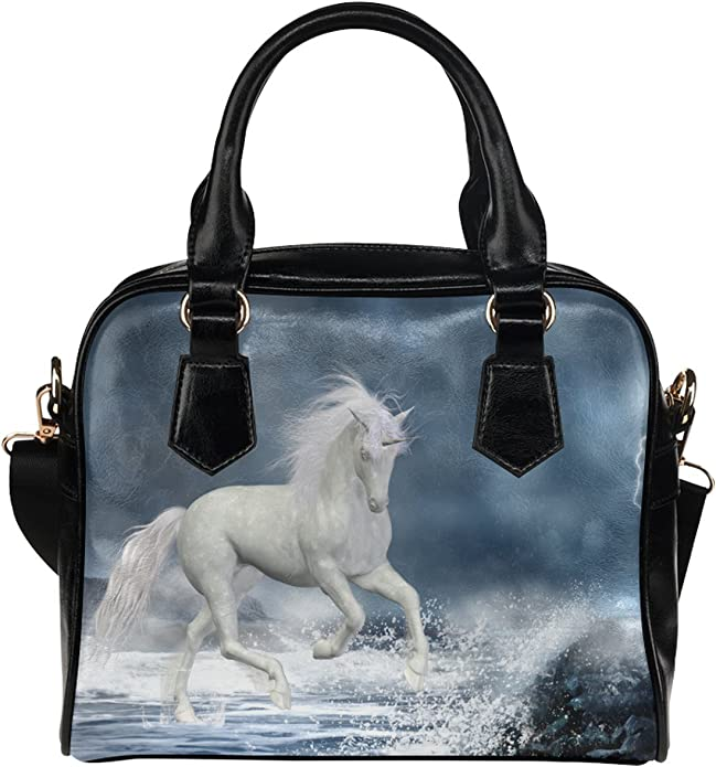 CASECOCO White Horse Ocean Womens PU Leather Purse Handbag Shoulder Bag