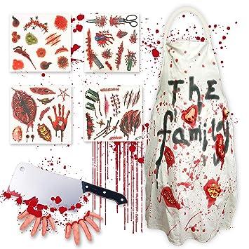 Amazon.com: Pawliss Halloween Zombie Butcher Disfraces Props ...