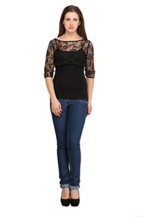 cottinfab Women's Net Shrug Women's Blouses & Shirts at amazon