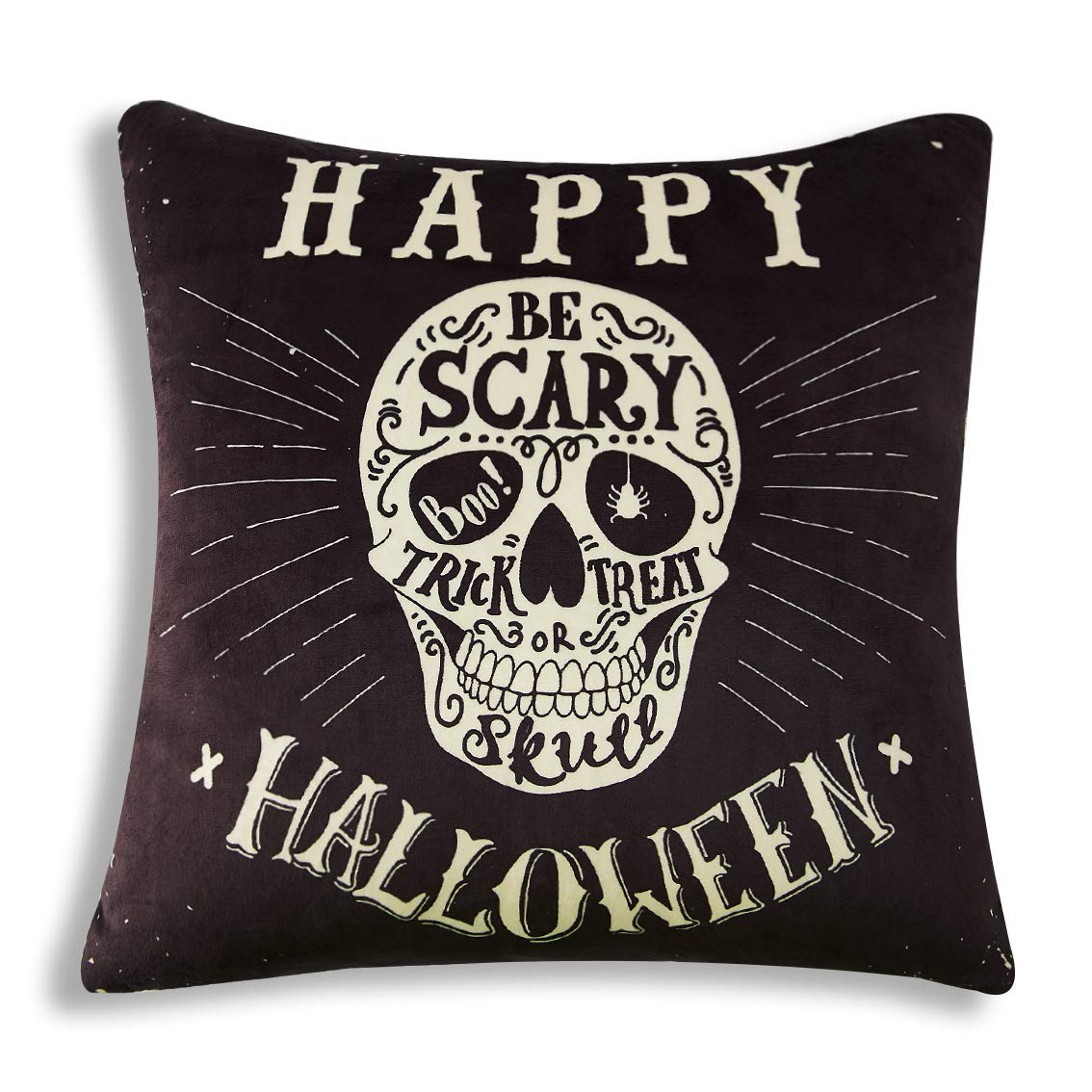 TUONROAD Trick or Treat Novelty Breathable Throw Pillow Happy Halloween Skull Be Scary Spider Printed Pillowcase Insert Original Black Soft Velvet Zipper Hidden Fluffy Cushion for Theme Party Decor