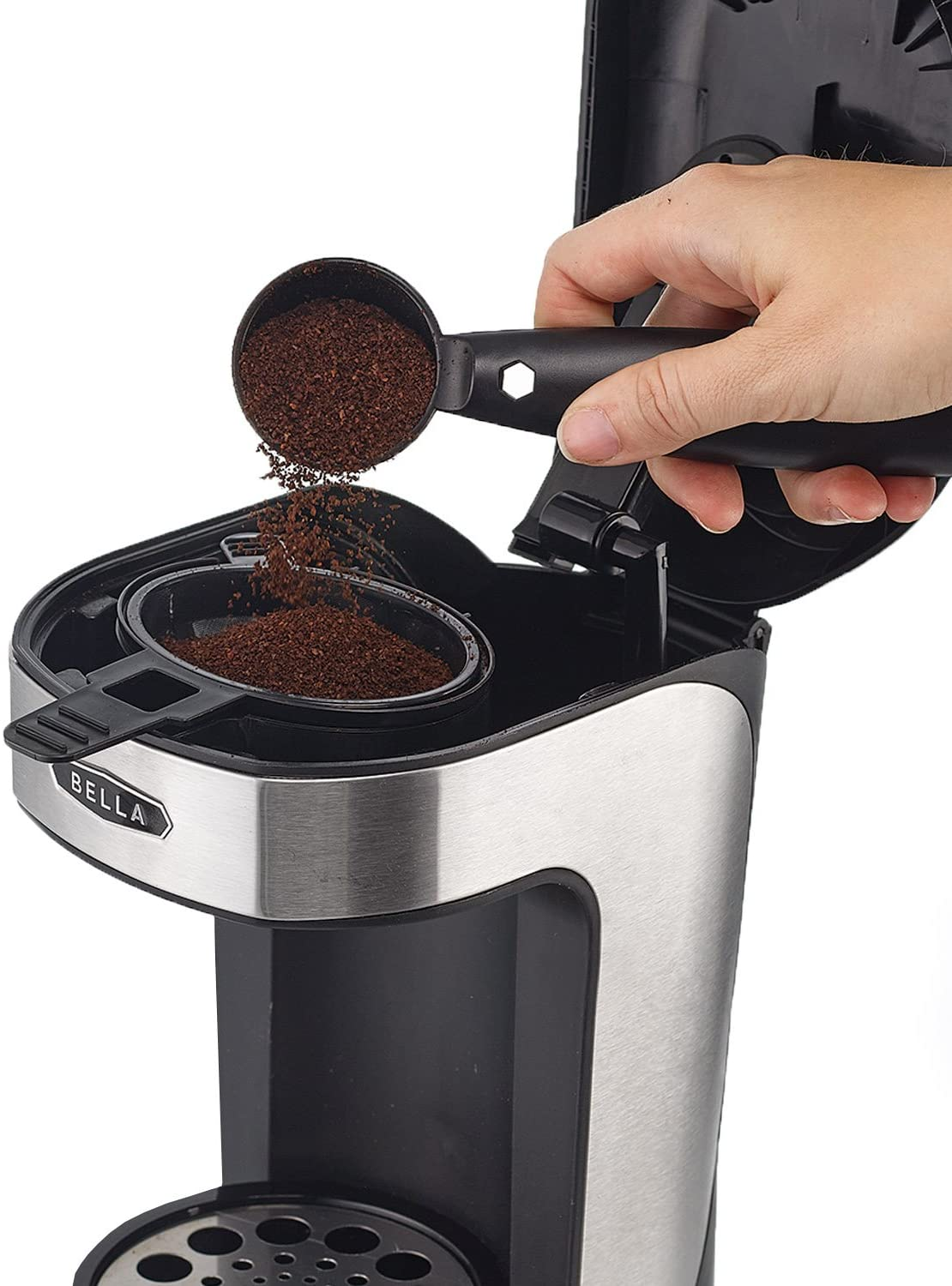 BELLA 14436 One Scoop One Cup Coffee Maker, Black and Stainless Steel